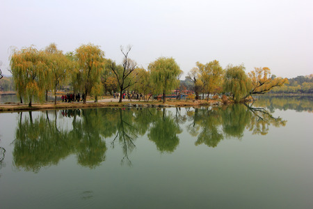 hebei province: CHENGDE CITY -  OCTOBER 20: lake natural scenery in chengde mountain resort, on october 20, 2014, Chengde City, Hebei Province, China