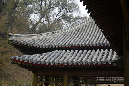 the humanities landscape: CHENGDE CITY -  OCTOBER 20: Chinese style building eaves in chengde mountain resort, on october 20, 2014, Chengde City, Hebei Province, China