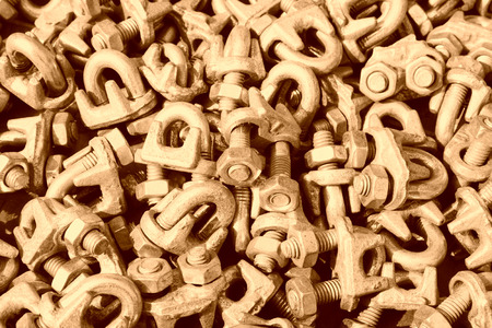 fasteners: oxidize nut fasteners piling up together