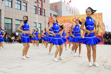 LUANNAN COUNTY - SEPTEMBER 27: dance performance at the National Day party, on september 27, 2014, Luannan County, Hebei Province, China