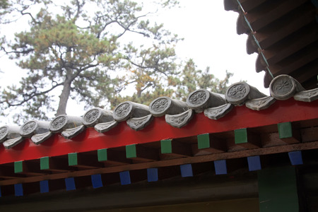 humanism: Chinese traditional style eaves, closeup photo