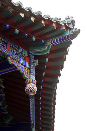 humanism: Aleros construcci�n de templos chinos, foto del primer Foto de archivo