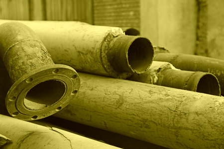 steel pipe: steel pipe wrapped in heat preservation material in the factory Stock Photo