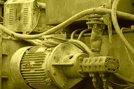 sludge: mechanical equipment full of oil sludge, closeup of photo