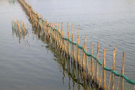 redes de pesca: redes de pesca y palo en el agua, primer plano de la foto