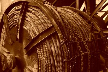 sludge: steel wire rope drum full of sludge in a factory
