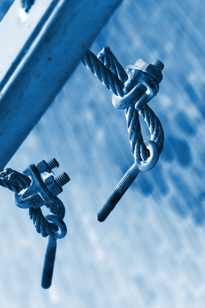 fasteners: steel wire rope full of greasy dirt and connection fasteners