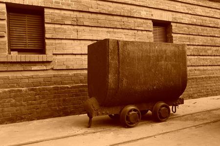 holgaz�n: transportista ferroviario ocioso en una f�brica, foto del primer Foto de archivo