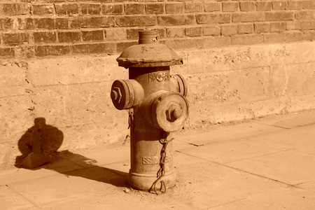 old fire hydrant: closeup photo, old fire hydrant in a factory Editorial