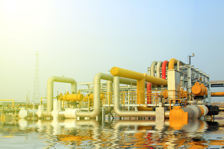crude oil: crude oil processing and transmission equipment, closeup of photo