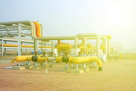 crude oil processing and transmission equipment, closeup of photo photo