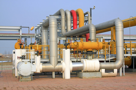 crude oil processing and transmission equipment, closeup of photo