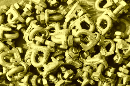 fasteners: oxidize nut fasteners piling up together  Stock Photo