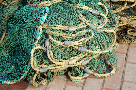 lead rope: Nets and lead weights, closeup of photo Stock Photo