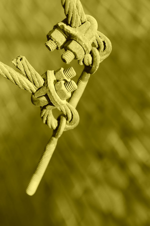wire rope: steel wire rope full of greasy dirt and connection fasteners