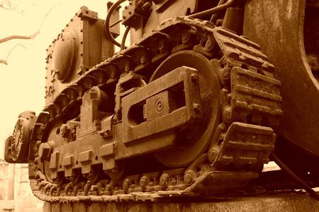 mining machinery: abandoned coal mining machinery caterpillar, in the Kailuan national mine park, on January 2, 2014, tangshan city, hebei province, China.