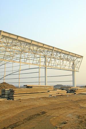 precast: Factory workshop steel structure truss and precast concrete panel, closeup of photo