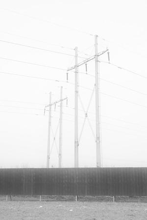 transmission line: high voltage transmission line under sky, north china Stock Photo