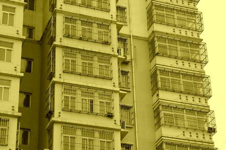 balcony window: Residential buildings balcony window, closeup of photo Editorial