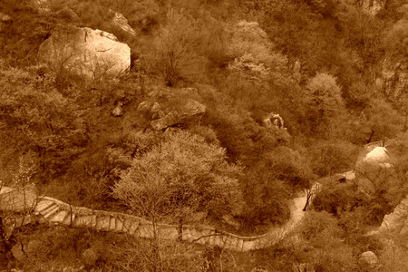 mountain road in a geological park, beijing, china Standard-Bild