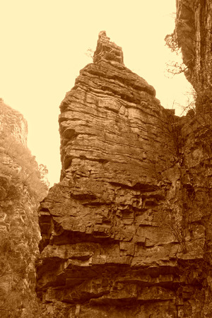 butte: Sandstone butte, fairy tower, stone forest gorge scenic area, Pinggu county, Beijing, China.  Stock Photo