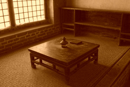 rural areas: Traditional Chinese style furniture - kang table, in Chinese rural areas