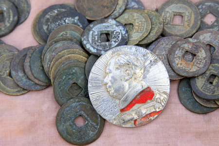 mao: Chairman MAO zedong badge and Metal currency in ancient China