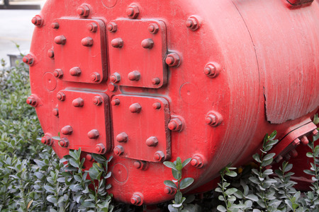 red metal: Red metal parts, closeup of photo