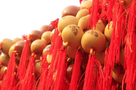 yellow tassel: gourd crafts, closeup of photo