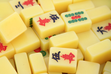 Close up of yellow mahjong tiles
