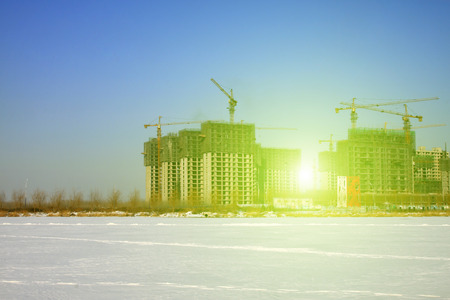 dazzle: Unfinished buildings under construction during winter