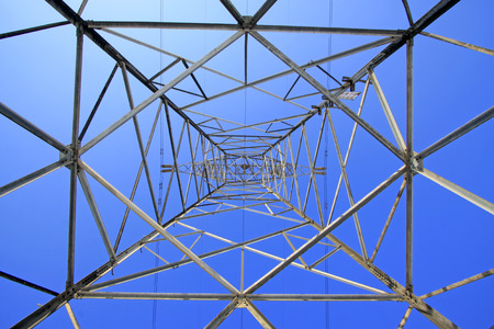 metal structure: Electric power tower bottom view, closeup of photo Stock Photo