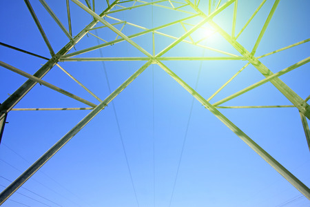 electric power: Electric power tower bottom view, closeup of photo Stock Photo