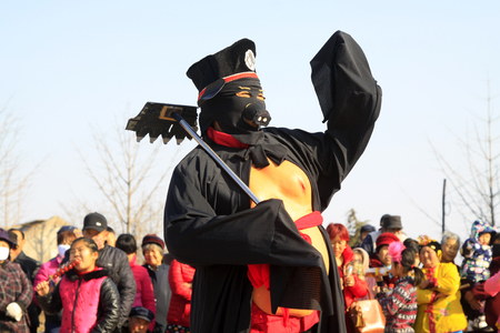 unrestrained: LUANNAN COUNTY - MARCH 1: traditional Chinese style yangko dance performances in the square, on march 1, 2015, Luannan County, Hebei province, China