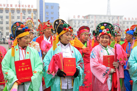 LUANNAN COUNTY - FEBRUARY 28: traditional Chinese style yangko dance performances in the square, on February 28, 2015, Luannan County, Hebei province, China