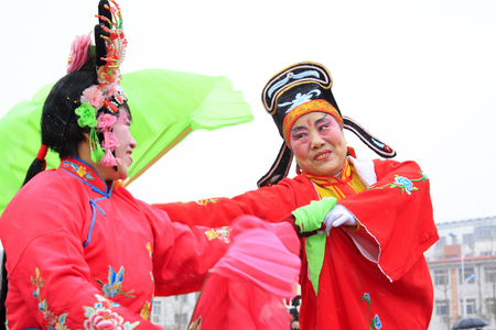 loveliness: LUANNAN COUNTY - FEBRUARY 28: traditional Chinese style yangko dance performances in the square, on February 28, 2015, Luannan County, Hebei province, China