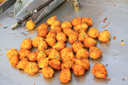 steelyard: Vegetables meat balls and steelyard, closeup of photo