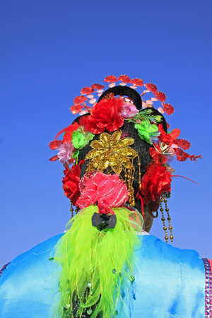 headwear: traditional Chinese style yangko headwear, closeup of photo