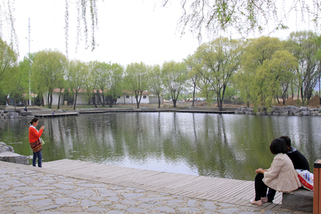 tangshan city: TANGSHAN CITY - APRIL 18: People in the leisure in a lake, April 18, 2015, Tangshan City, Hebei Province, China
