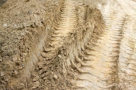 rut: rut on the land, closeup of photo Stock Photo