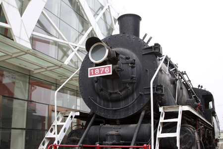 steam locomotive: old steam locomotive, closeup of photo Editorial