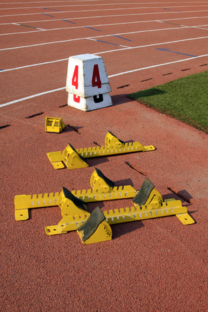 starting block: starting block and serial number mark on the plastic runway
