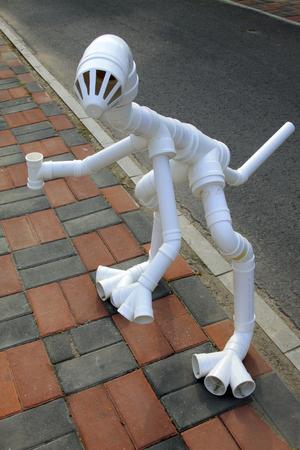kunststoff rohr: Tiermodell von PVC-Kunststoff-Rohrmaterial Kombination, Nahaufnahme von Foto