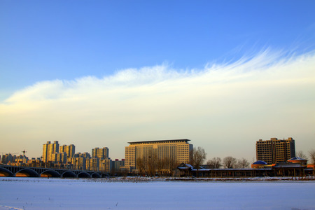 north china: north China city architecture in the winter, closeup of photo Stock Photo