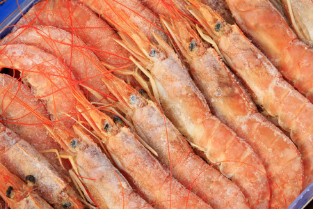 frozen shrimp in a market