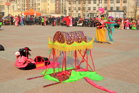 customs and celebrations: traditional Chinese style yangko dance props, closeup of photo