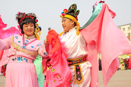 LUANNAN COUNTY - MARCH 7: traditional Chinese style yangko dance performances in the square, on march 7, 2015, Luannan County, Hebei province, China