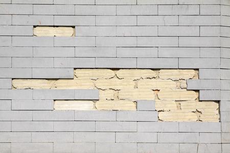 ceramic tile: debris of the ceramic tile wall, closeup of photo