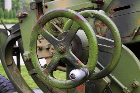gun control: Gun control handwheel, closeup of photo