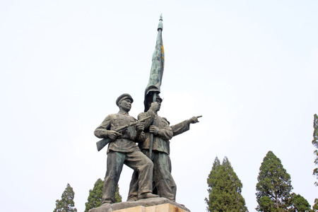 north china: Shijiazhuang - April 28: fighter statue in north China military martyrs cemetery, on April 28, 2015, shijiazhuang city, hebei province, China Editorial